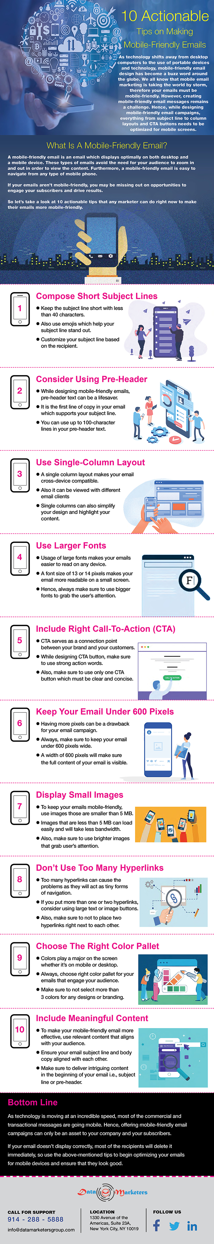 10 Actionable Tips on Making Mobile Friendly Emails Infographic | Data Marketers Group
